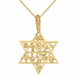 10K Solid Gold Star of David 12 Tribes Necklace